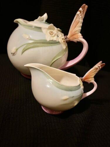 Franz Porcelain Papillon Butterfly Teapot XP-1878 Never Used + Creamer XP-1947