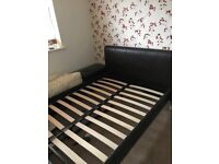 """Faux Brown Leather Double (4""""6) Bed Frame"""