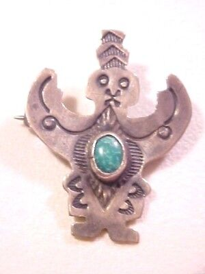 OLD FRED HARVEY ERA NAVAJO SILVER AND TURQUOISE HAND STAMPED MAN FIGURE BROOCH