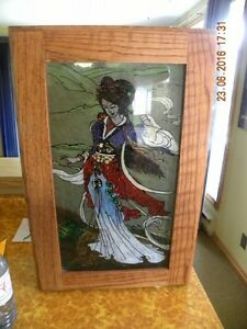 Lighted Display, Japanese Women reverse painted on glass