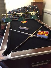 Full size Pool Table 7'x4' with 2 sets of pool balls, cleaning brush, lights and removal coin drawer