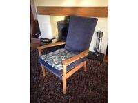 vintage parker knoll chair Pk 773 solid wood frame, refurbished, cute cat fabric/navy velvet.