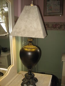 REDUCED TODAY! LOVELY DECOR TABLE LAMP, GOLD LINE SHADE, MINT