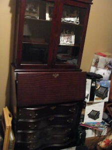 Display cabinet w secretary desk and drawers -Space saver