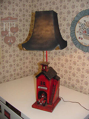 Volunteer Fire Department 1910 Building Lamp Light 3-Way Black Cloth Shade 60W