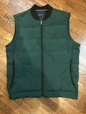 Nautica Mens Puffer Vest - Green - Medium - Down feather fill
