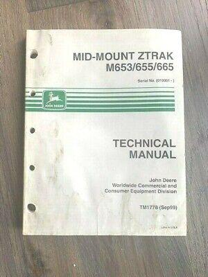 1999 John Deere Mid-mount Ztrak M653655665 Technical Manual Tm1778