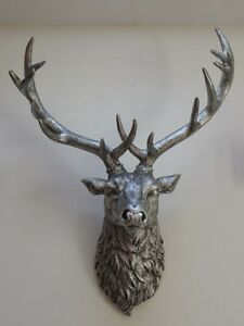 Large Antique Silver Stags Head Deer Head Wall Mounted Free Postage