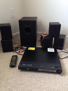DVD player with 5 speakers and 1 subwoofer surround sound