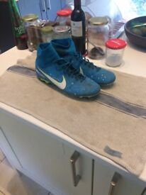 Nike Neymar Mecurial Blue Football Boots with sock size 8.5