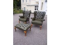 Two Green Leather Chesterfield Armchairs With Footstall ,Can Deliver