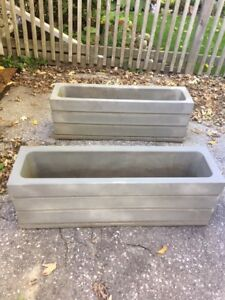2 grey square flower containers (great for balcony/porch)