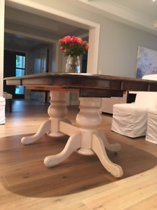 Double Pedestal Table with two (2) self storing leaves