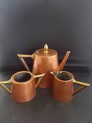 Antique c1900 Arts & Crafts Copper Brass Teaset Stamped BF mark Angular handles
