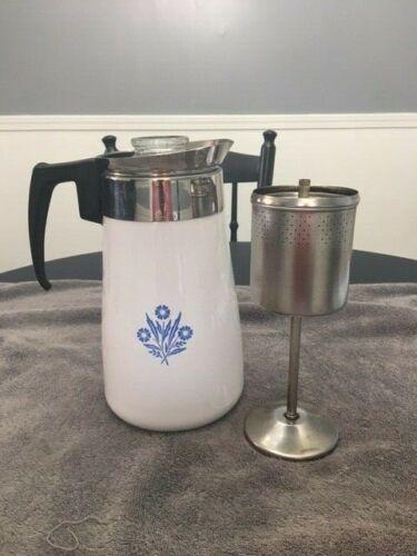 Corning Ware Cornflower Vintage 10 cup percolator coffee pot