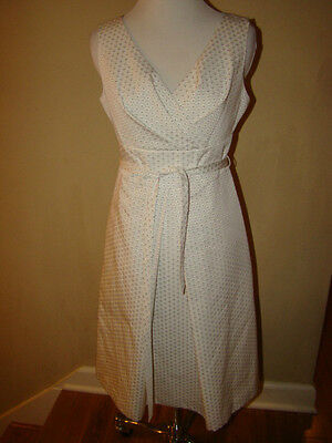 Mens Off White Kleid (TALBOTS OFF WHITE TEXTURED ACCENT 50 'S STYLE MAD MEN PLEATED FULL DRESS SIZE 2)