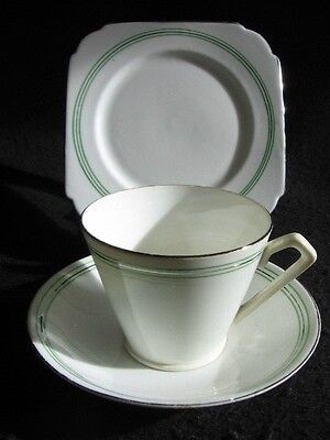 ART DECO TAYLOR & KENT WHITE/STRIPED CHINA  CUP/SAUCER/PLATE TRIO 1930's