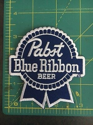 "NEW Pabst Blue Ribbon Blue White Beer Brewery Jersey Jacket 3.5"" Inch Patch"
