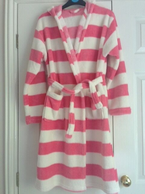 As new, 12-13 years, pink and white striped dressing gown from ...