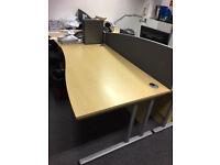 1600mm Right Hand Wave Desks in Oak
