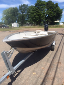 Barely used 14 foot boat, motor and trailer package.