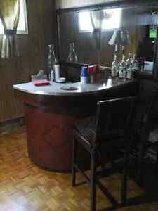 Retro vintage bar wood and leather make an offer!