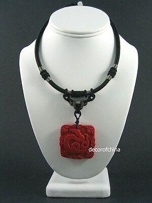 Chinese Cinnabar Zodiac Jewelry Necklace Pendant Snake Chinese Snake Zodiac Pendant