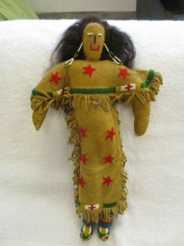 """15 1/2"""" Sioux Indian Reservation Era Seed-Beaded Braintanned Leather Star Doll"""
