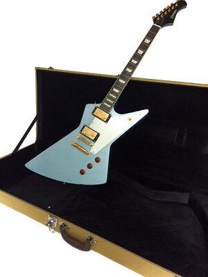 '58 CUSTOM PELHAM BLUE 6 STRING ELECTRIC GUITAR W/ HARD CASE-EXPLORER STYLE