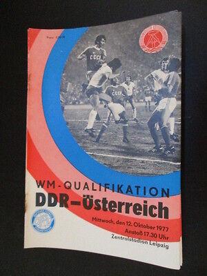 DFV DDR Fußball Programm 06 DDR Österreich 1977 Länderspiel