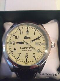 Black leather dress lacoste watch