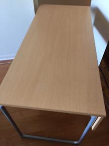 """IKEA desk-light oak finish w grey tubular steel legs. 53""""X 23.6"""""""