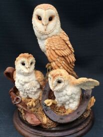 Three owl figurines from Country Artists Collection
