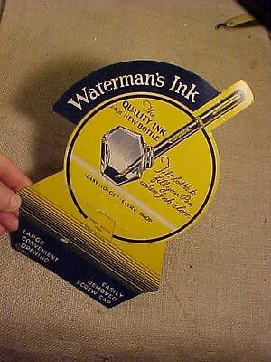 ORIGINAL ANTIQUE WATERMANS INK FOR FOUNTAIN PEN CARDBOARD STORE DISPLAY STAND