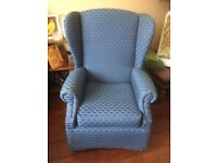 Blue patterned comfy wing back day chair, good condition £30.00 ONO