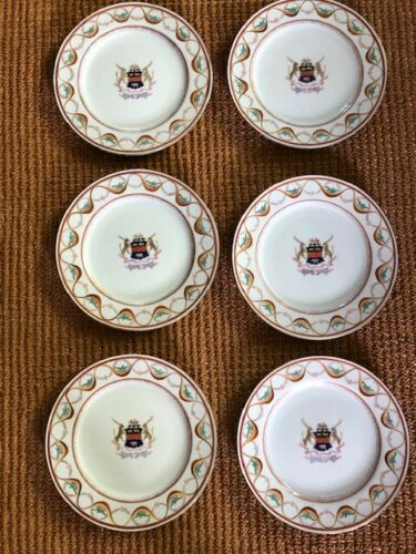 """Set of 6  ARMORIAL/HERALDIC dinner plates, 10 1/4"""" Hand Painted with gilding"""