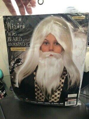 White Mustache Costume (Wizard White Long Mustache Beard Boys Child Costume Wig Set)