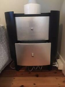 Unusual Black and Silver Oval Bedside Tables Randwick Eastern Suburbs Preview