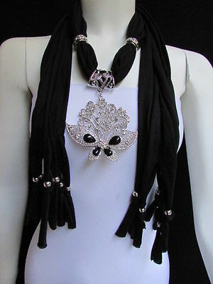 Used, WOMEN BLACK SOFT FABRIC FASHION SCARF NECKLACE SILVER FLOWERS BUTTERFLY PENDANT for sale  Shipping to India
