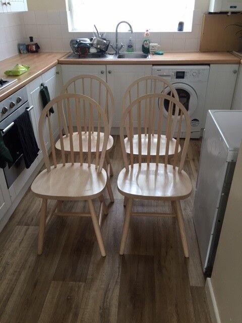 4 Kitchen Chairs For Sale Excellent Condition Whitewash Finish In Bishopsworth Bristol Gumtree