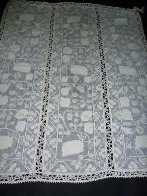 "FAB Antique Vintage ITALIAN BURATTO Lace Table Cover 35 x 42"" Corner Tassels"