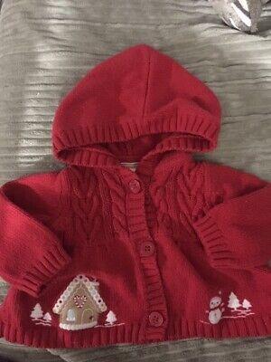 Gymboreet Baby 3-6M Christmas / Winter Red Sweater - Hood - Gingerbread Snowman