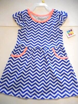32d8cecd9 Dresses Girls clothes Dress Outfits Apparel Blue, white Zig-zag design 3T