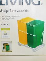 15L Double Pullout Waste Bin Trash Can
