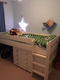 White Stompa mid sleeper bed.