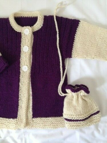 sweater girls 5-6 years new cardigan & bag. hand knitted color aran- violet
