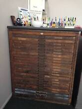 HAMILTONS ANTIQUE PRINTERS TRAY CABINET PLUS CONTENTS Annandale Townsville City Preview
