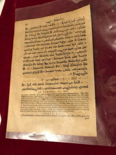 1500s Mid to late ,  Bible Leaf Page Latin Syriac  Romans XIII 22 Epistle Paul