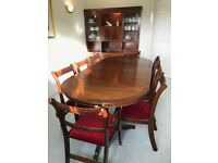Dining Room Furniture (Reproduction Regency) Dining Table, 8 Chairs, Display Cabinet and Sideboard.