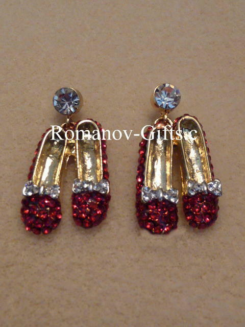 Wizard of Oz Ruby Slippers Pair of Post  EARRINGS  Crystal Diamonds